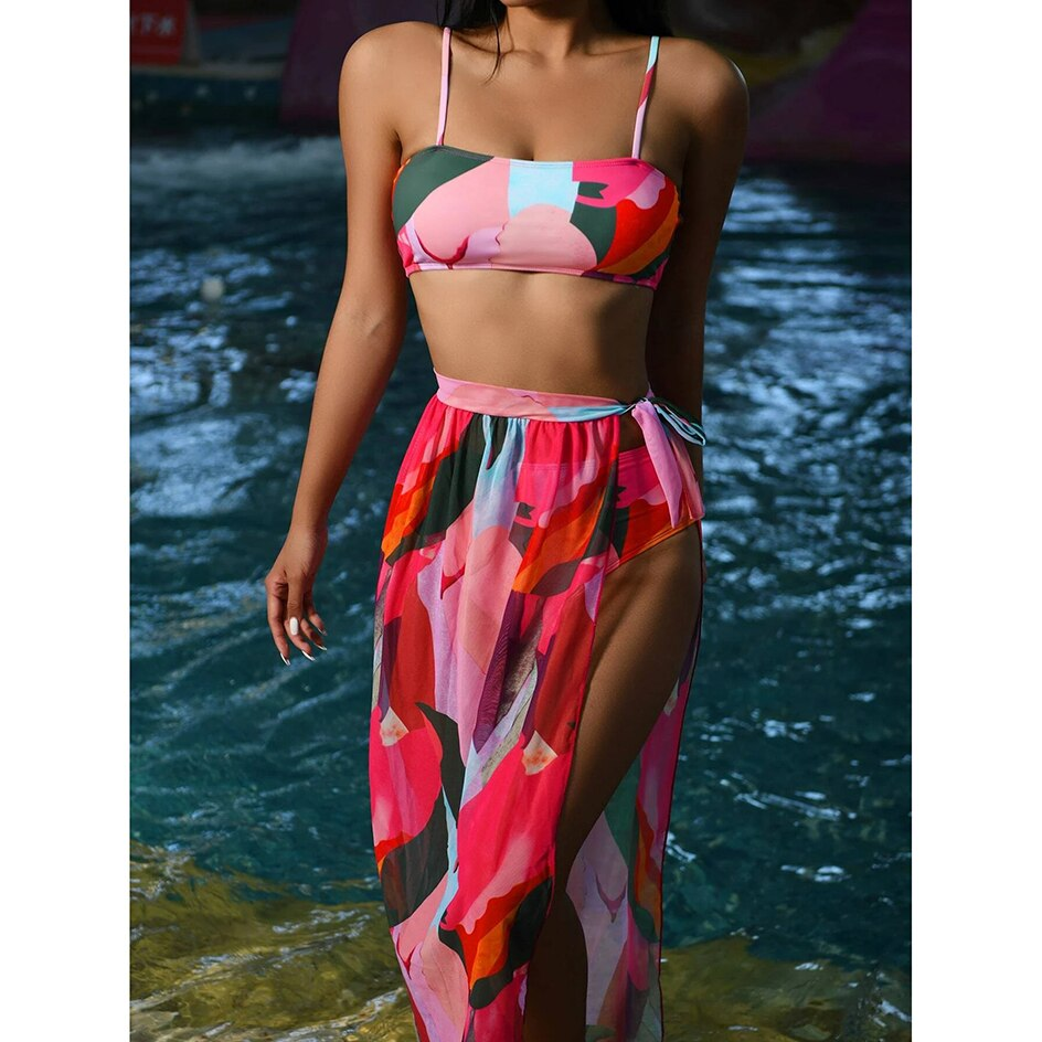 High Waist Bikini 2021 Sexy Swimsuit Women Swimwear Swim Cover up Set 3 piece Female Beach Wear Swimming for Bathing Suit