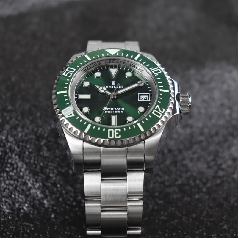 Cronos Men's Watch Green Dial Sapphire Crystal Stainless Steel 1000M Water Resistance Japan NH35 Automatic Movement Dive Watches enlarge