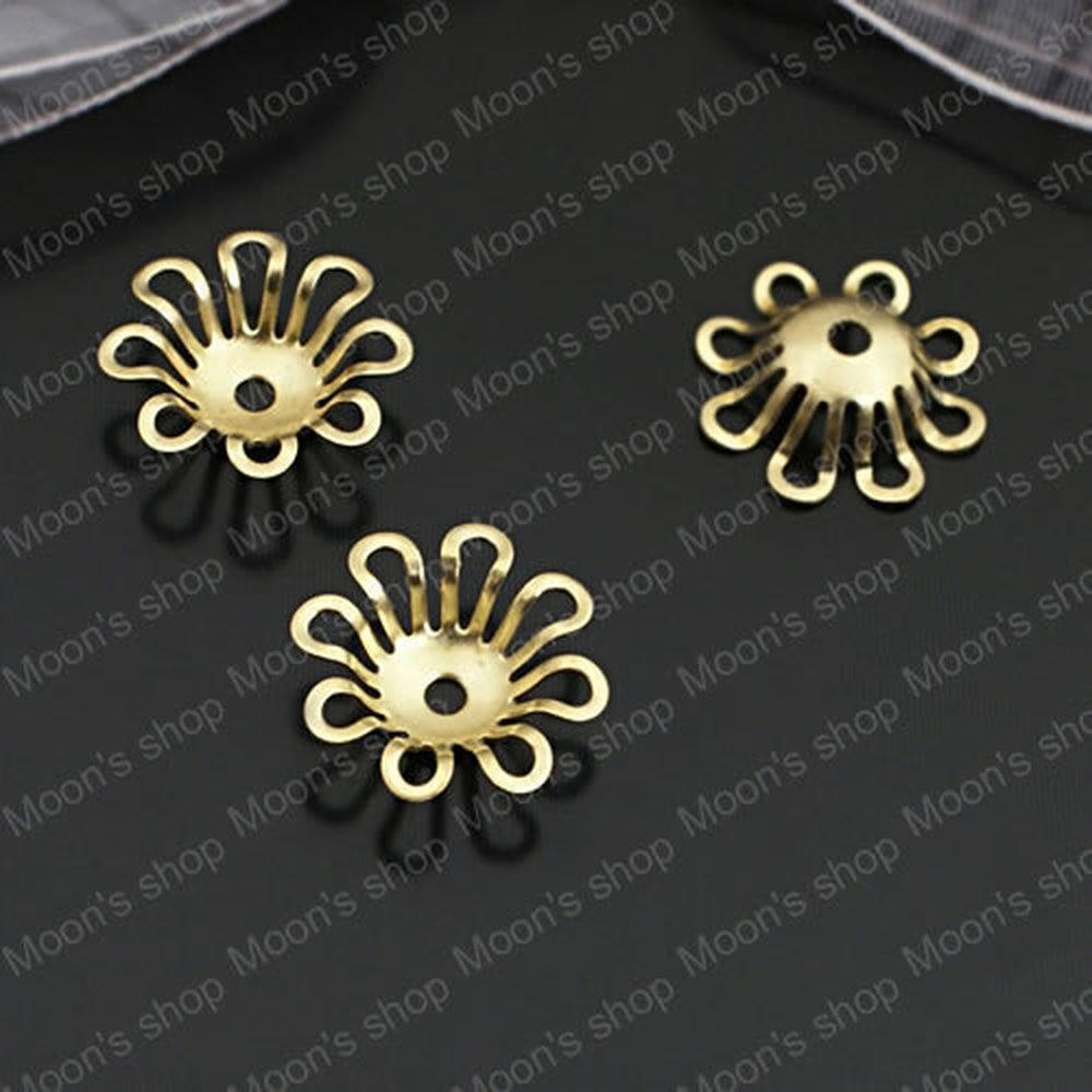 Wholesale 14*4mm Not plated color Flower Copper Bead Caps Findings Accessories 50 pieces(JM3610)