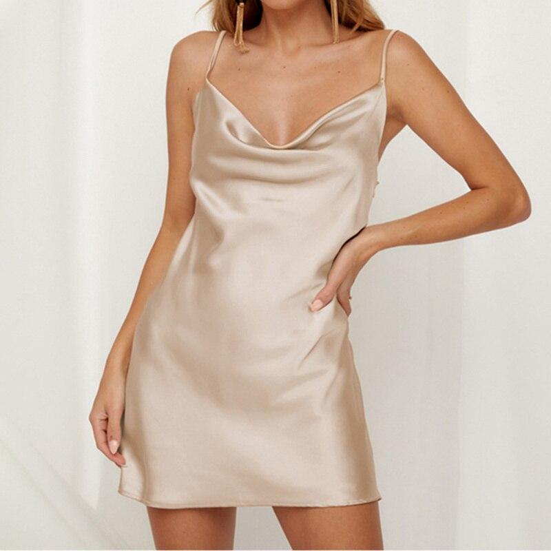 Sexy Low-Collar Satin Pajama Party Club Sling Mini Dress Women Solid Color Slim Backless Home Comfort 2020 Fashion Vestidos