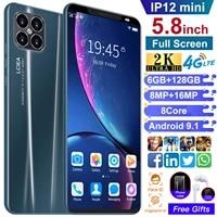 global version ip12mini cheap smartphone mt6589 4500mah 5 8 inch 6gb 128gb 8 core dual sim micro sd mobile phone andriod 9 1