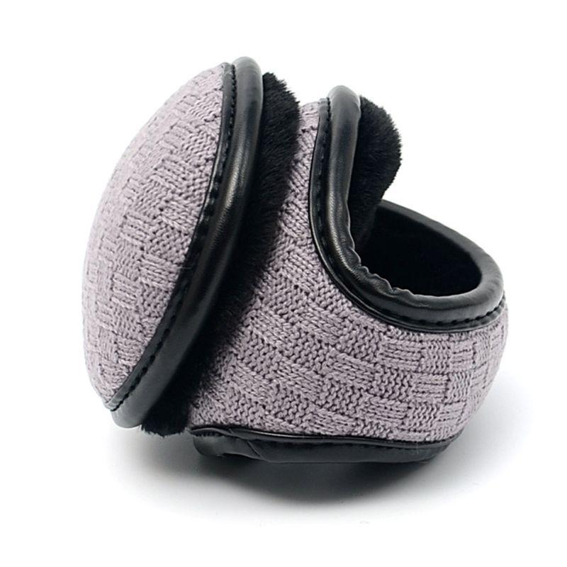 Unisex Winter Polar Fleece Earmuff Plaid Crochet Warm Lining Foldable Ear Warmer
