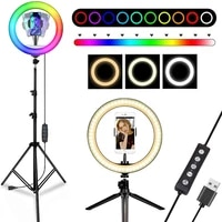 LED Ring Light Dimmable RGB Video Lights With Stand Tripods 160CM Phone Holder Lamp For TIKTOK Youtube Lampara Led Estudio