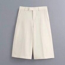 Nouveau 2020 femmes couleur unie genou longueur pantalon femme décontracté mince poche droite pantalon tenue de bureau pantalons mujer P611