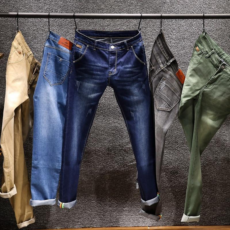 Новинка 2020, модные мужские джинсы, облегающие эластичные брюки-карандаш цвета хаки, синий, зеленый, хлопковые брендовые классические джинсы...