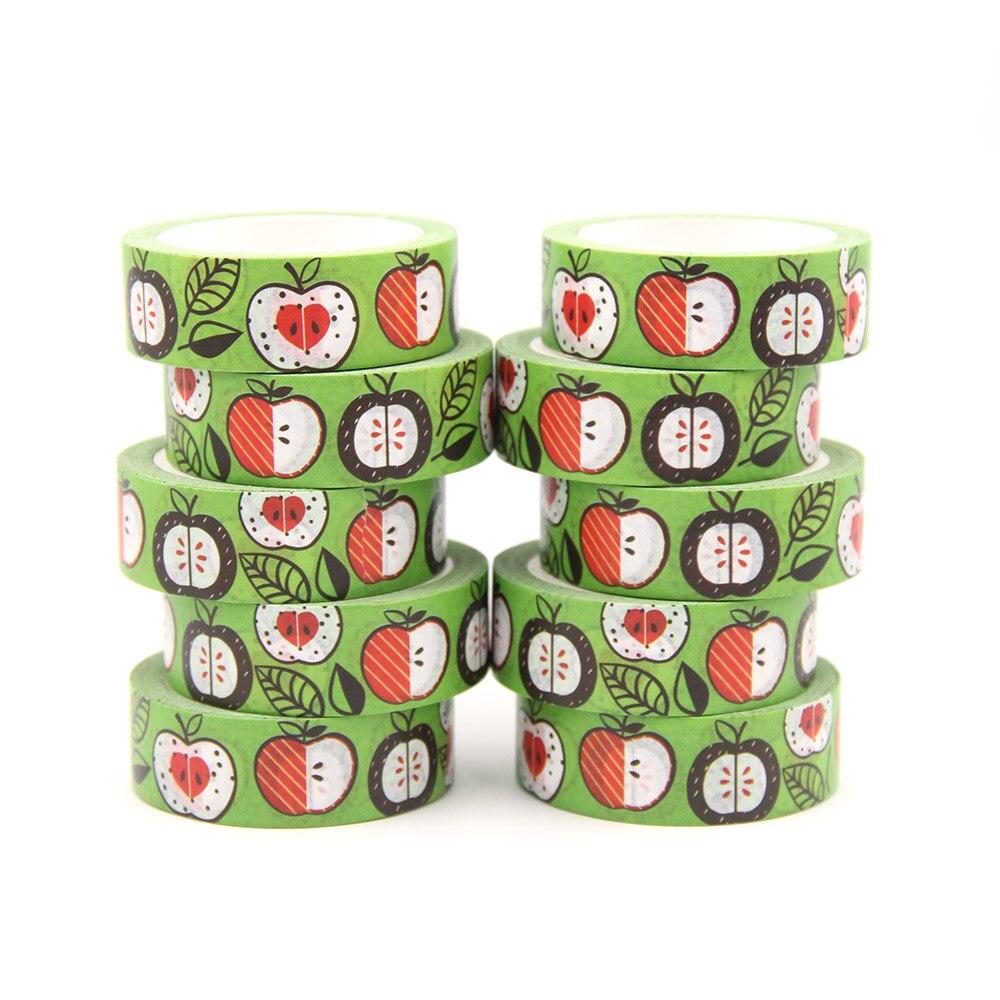 10 шт./лот 15 мм * 10 м зеленые яблоки оставляют Васи наклейки Маскировочные Ленты Декоративные DIY канцелярские принадлежности офисные милые Ва...