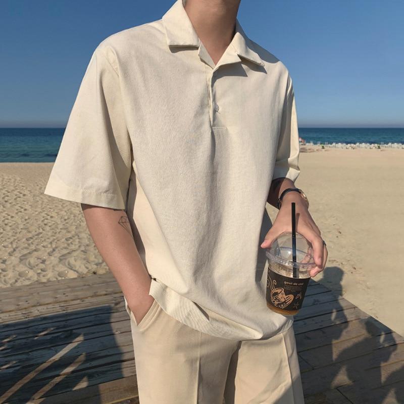 Handsome boyfriend's shirt solid color short sleeve shirt fashion thin cotton hemp half sleeve man