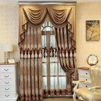 new european style fabric premium thickening chenille embroidery heart pattern curtains for living dining room bedroom valance