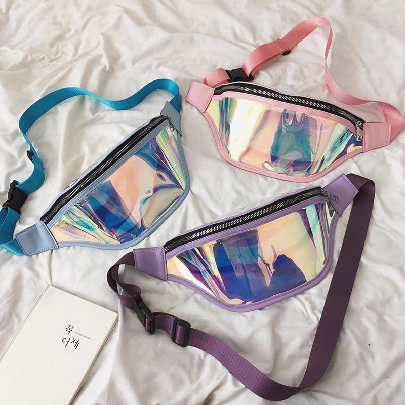 Водонепроницаемая поясная сумка, лазерная женская розовая сумка-мессенджер, Спортивная Многофункциональная поясная сумка для бега, поясна...
