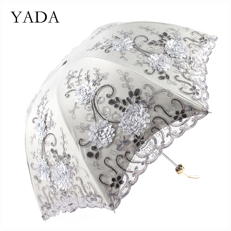 YADA 2020 Ins Lace Flower Pattern Princess Umbrella Rain Women UV For Windproof 3-Folding Umbrellas YS200190