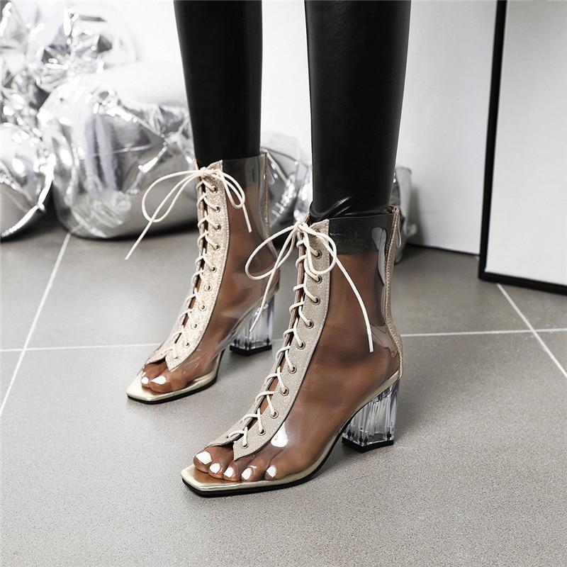 YQBTDL-صندل نسائي بكعب عالٍ بنمط المصارع ، حذاء مفتوح من الأمام ، شفاف ، لون ذهبي ، لفصل الربيع والصيف