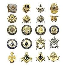 Multi Massonica Spilli Liberi e Accettati Mason Cavaliere templare Bussola e Sqaure Spilla Regali Distintivi E Simboli Con Frizione Della Farfalla