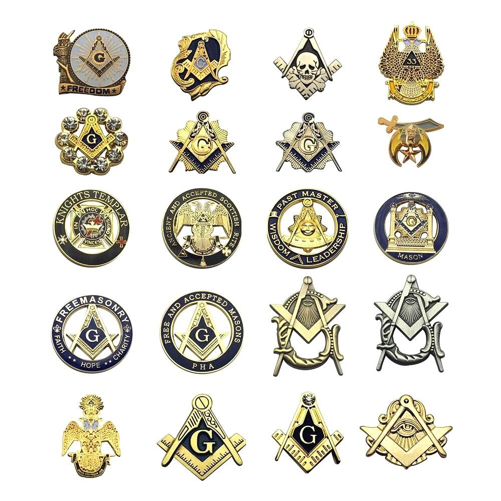 Multi Pins de solapa masónicos gratis y aceptado Mason Knight templar Compass y broche Sqaure regalos insignias Clutch con mariposas