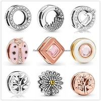 authentic 925 sterling silver baeds reflexions sparkling daisy flower clip charm fit pandora women bracelet necklace jewelry