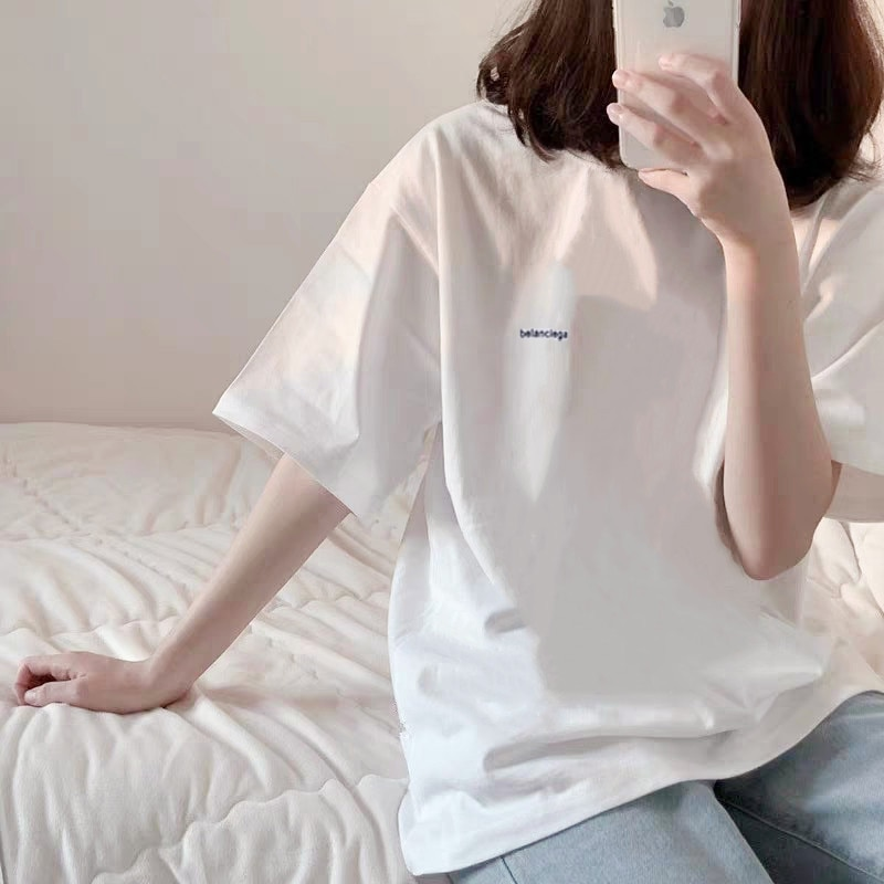 Hong Kong Style Simple White Solid Color Short-Sleeved T-shirt Women's Korean-Style Versatile Loose
