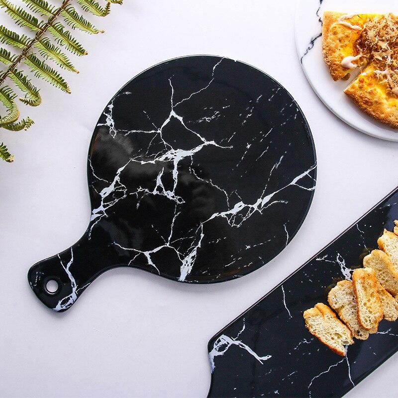 الرخام السيراميك الإفطار لوحة الخبز لوحة مع مقبض الشاي لوحة المنزلية مستطيلة أطباق فاكهه صينية البيتزا
