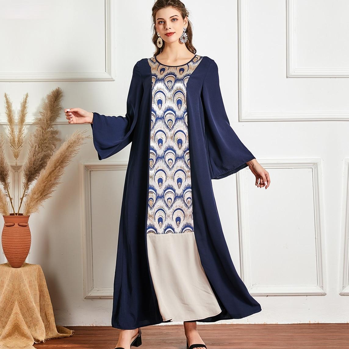 مسلم موضة جديدة كبيرة الحجم المرأة الجولة الرقبة طويلة الأكمام موضة اللون مطابقة مزاجه فستان عباية تركيا Kuftan