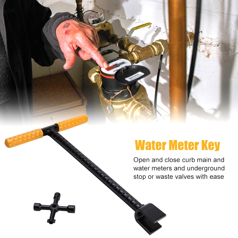4 Ways Plumber Utility Key 12 inch T-Type Power Handle Lock Valve Key Wrench Tool for Electric Meter Water Meter Stop Valve aiboully triangle key wrench multi function wrench tool triangular electric control cabinet train elevator water meter valve key