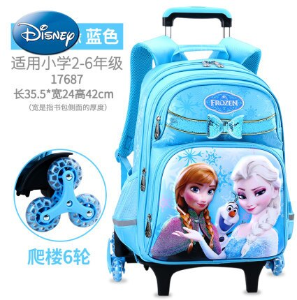 Disney Mickey Mouse Minnie three-wheeled trolley school bag school bag children's backpack large-capacity travel trolley bag