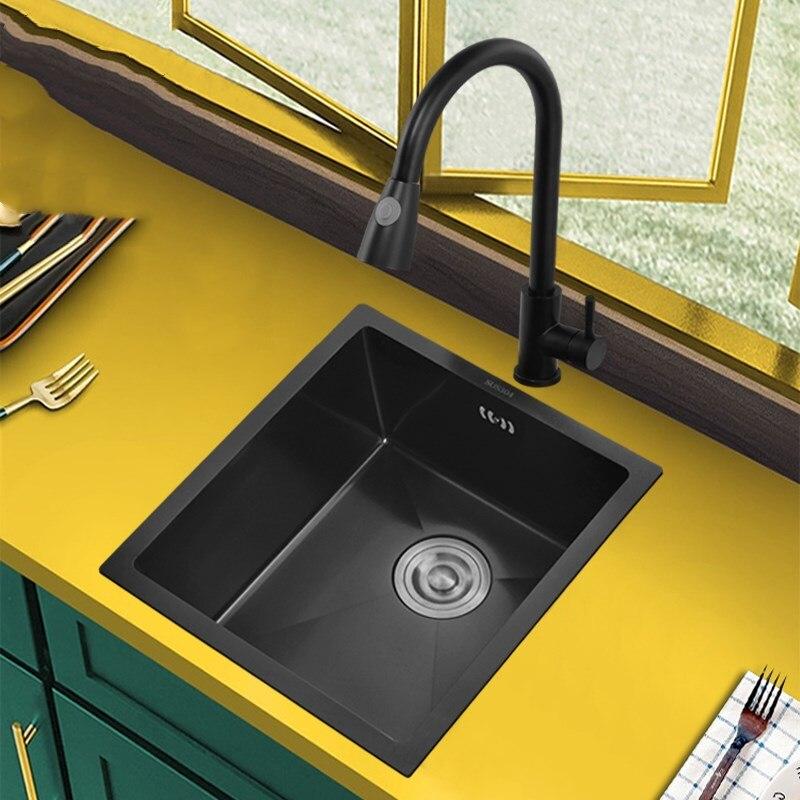 سميكة دائم أسود بار حوض منزلي الصنع شرفة صغيرة صغيرة فتحة واحدة 304 حوض مطبخ ستنلس ستيل التكنولوجيا الألمانية صنبور
