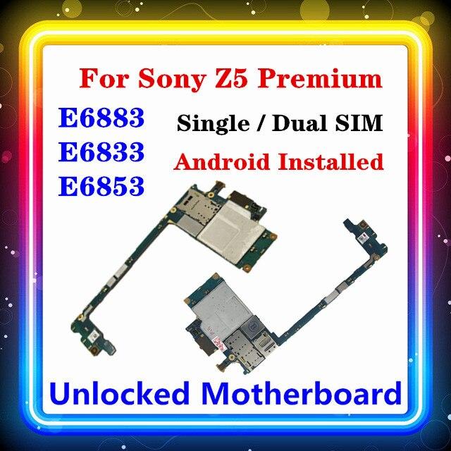 For Sony Xperia Z5 Premium E6853 motherboard E6883 E6833 unlocked with chips For Sony E6883 E6833 E6853 motherboard Android OS