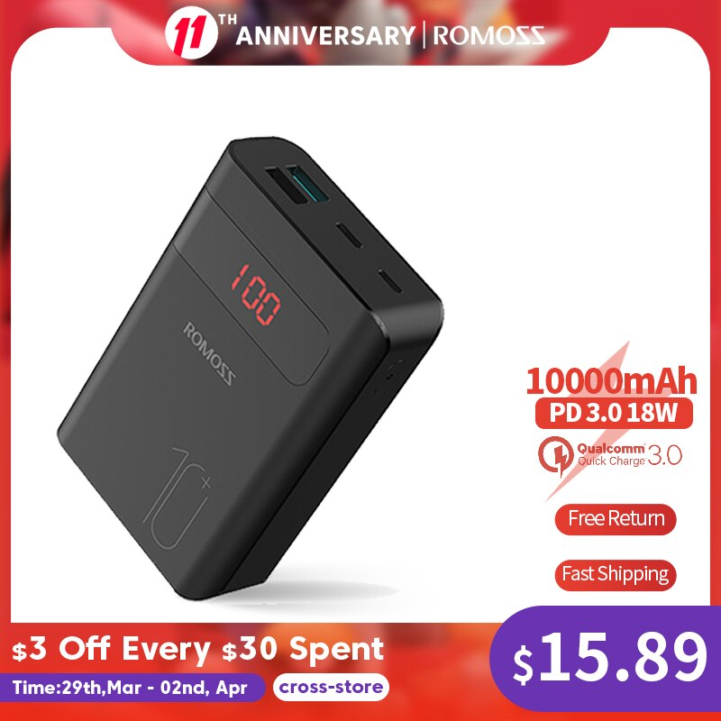 ROMOSS Sense4PS+ Power Bank 10000mAh Portable Charger LED External Battery PD 3.0 Fast Charging Powerbank for iPhone Xiaomi mi