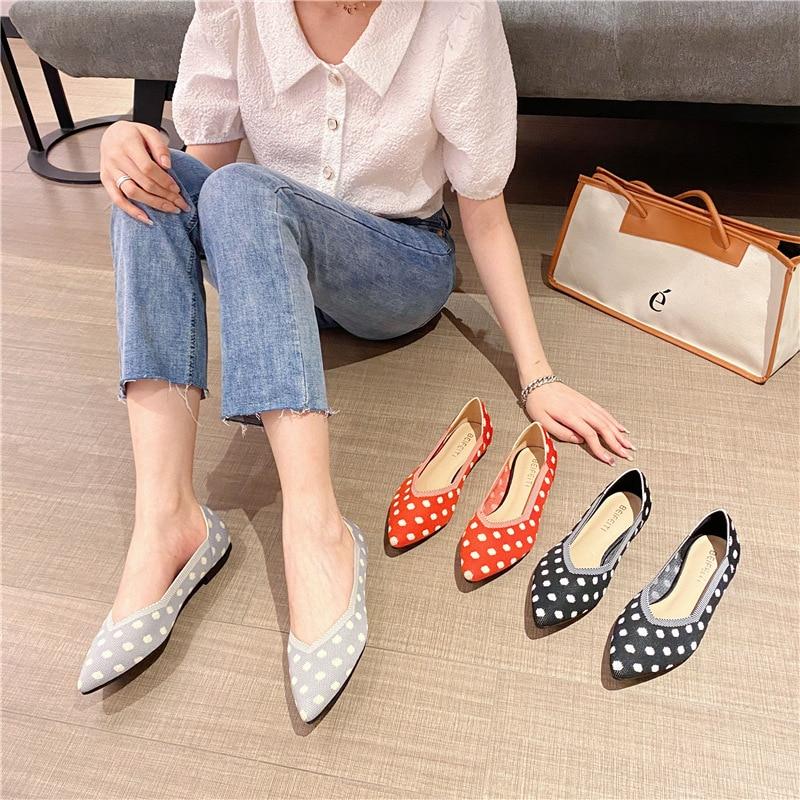2021 Woman Knit Pointed Shoes Ballet Mixed Color Soft Pregnant Zapatos De Chaussure Femme Zapatillas