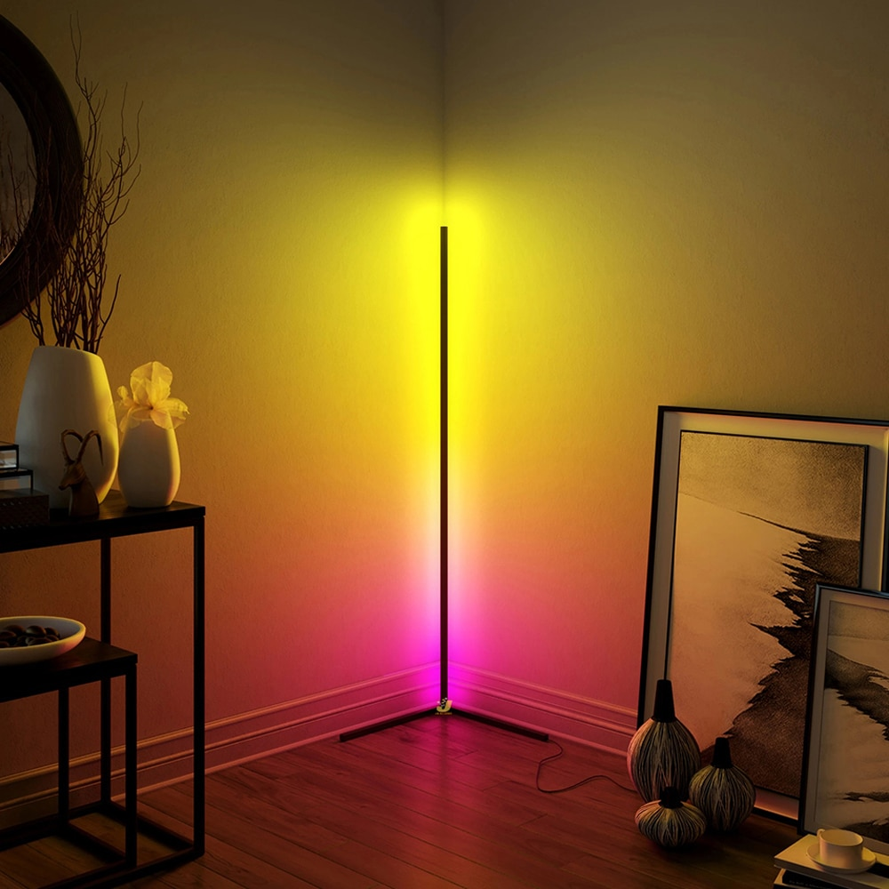 STINYTECH Indoor RGB Corner Floor Lamp Modern LED Floor Lamps Standing Light Fixtures For Living Room Bedroom Atmosphere