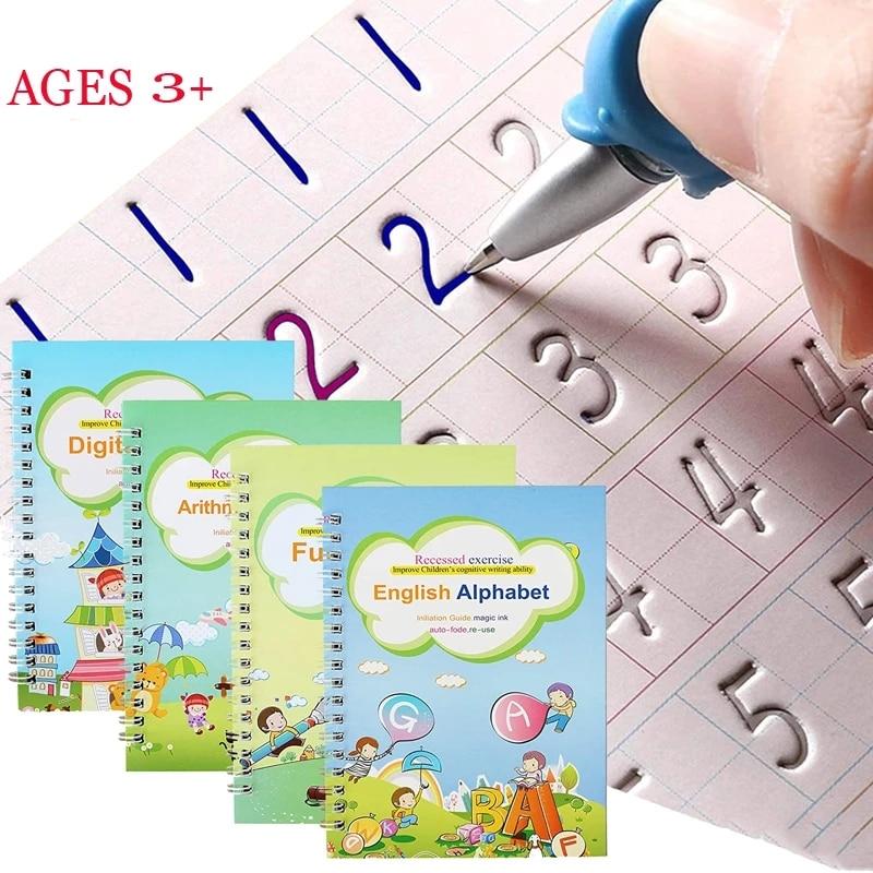 4-libri-quaderno-per-bambini-scrivere-a-mano-pratico-libro-riutilizzabile-libri-magici-per-calligrafia-scrivere-libro-inglese-lettera-disegno-set