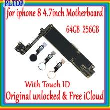 Placa base 100% Original desbloqueada para iphone 8 4,7 pulgadas con Touch ID/sin Touch ID para iphone 8 placa lógica bien probada