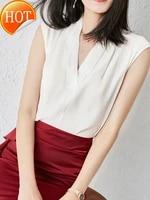 2021 spring and summer v neck silk shirt short sleeve 100 silk european fashion temperament t shirt vest top