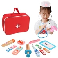 montelissou toys wooden baby kids medical equipment play house simulation doctor toy suit girl nurse cloth bag doctor toy