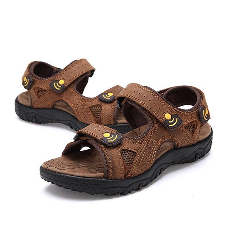 Летняя Пляжная Мужская обувь для отдыха кожаные сандалии высокого качества с