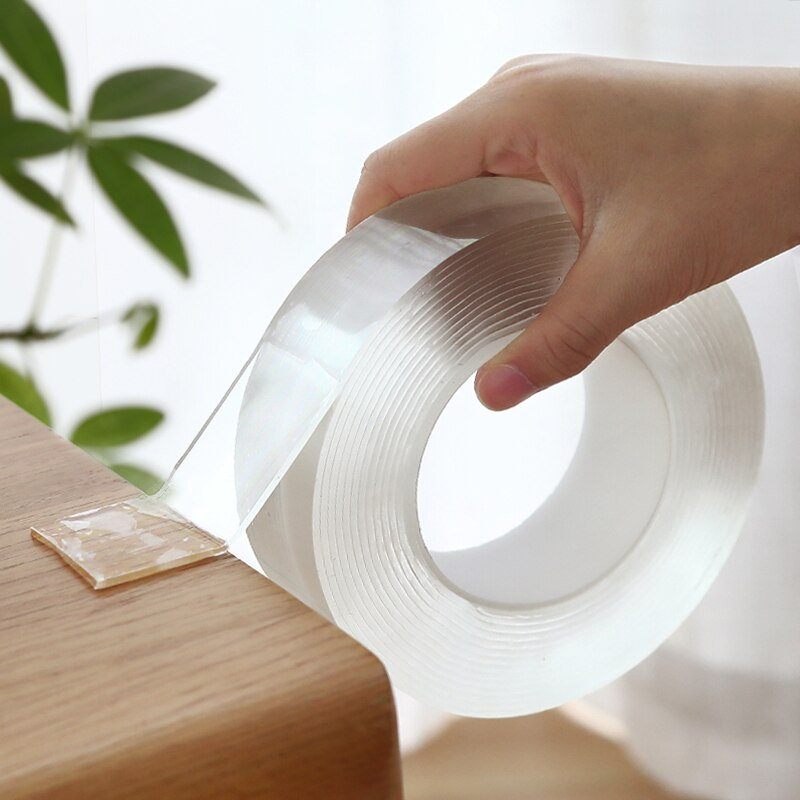 1m/3.0m/5m fita mágica dupla face fita transparente notrace reusável impermeável fita adesiva limpa casa gekkotape