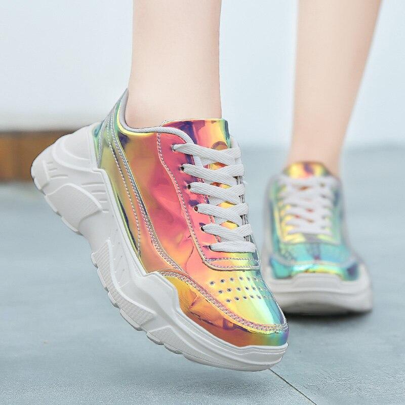 Mulheres a laser grosso sola pai sapatos moda multi cor respirável mulher grossas tênis confortáveis senhoras plataforma sapatos 992w