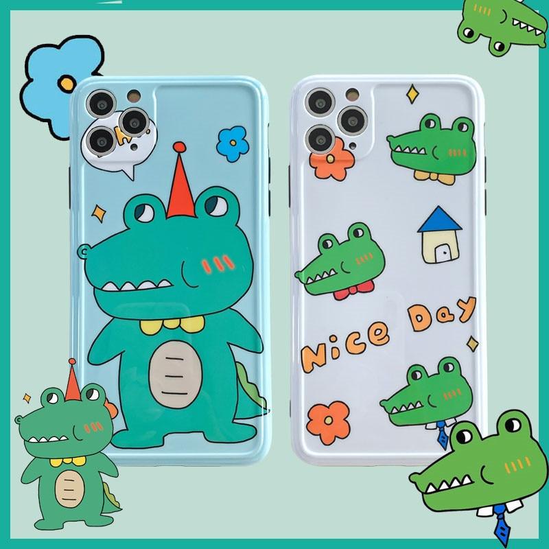 Capa de crocodilo bonito dos desenhos animados para 11 pro max escudo do telefone móvel iphone8/7plus iphone x/xs/xr silicone se