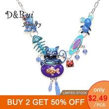 Fashion Woman Pendants Necklace Trendy Cat Dog Fish Bone Mouse Alloy Chain Necklace Women Clothes Accessories Choker Necklaces