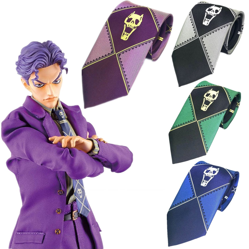 Anime JoJo's Bizarre Adventure Kira Yoshikage Cosplay Tie KILLER QUEEN Skull Neck Heavens Door Cospl