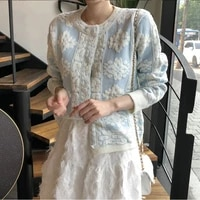 autumn floral embroidered cardigans sweaters korean women long sleeve single breasted tops vintage elegant ladies cardigan