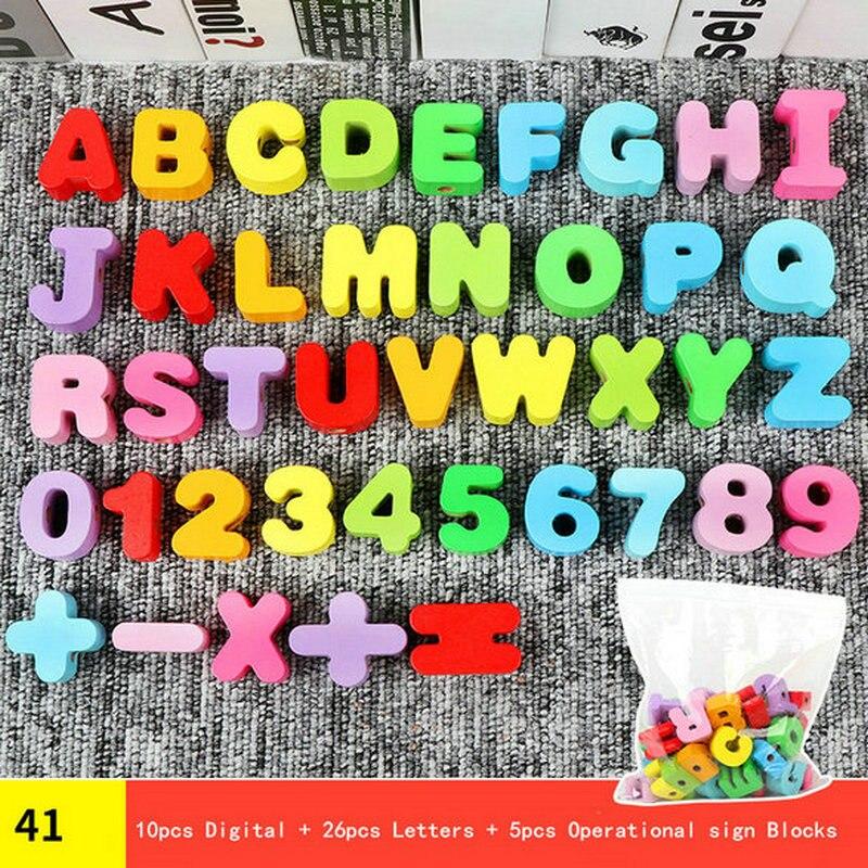 41 Uds. Cuenta de madera Grande s. Letra digital bead Juegos Accesorios juguetes de madera niños cuenta de madera juego accesorio chica regalo educativo
