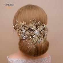 TOPQUEEN Golden Wedding Alloy Flower Headband Bridal Headpiece Rhinestone Wedding Hair Ornaments Wedding Tiara for Women HP252