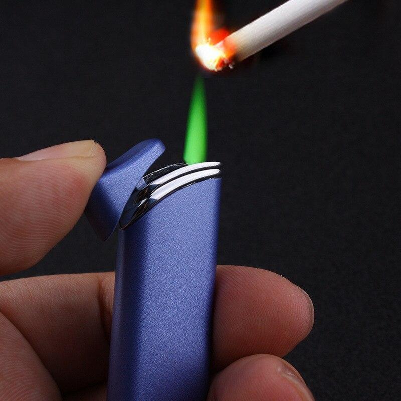 Encendedor de antorcha a prueba de viento a prueba de Gas, encendedor de llama verde, butano inflable 1300 C, encendedor de cigarrillos, dispositivos para hombres