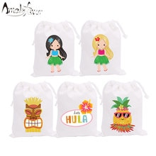 Hawaii Girls Theme Party Favor Bags Candy Bags Gift Bags Pineapple Girl Hula Holiday Party Decoratio