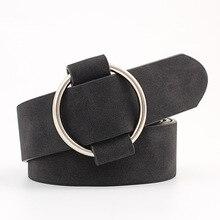 Women Casual Adjustable Belt Fashion Needle-free Round Alloy Buckle Jeans Decor Ladies Retro Punk Wi