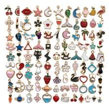 Semitree 100 pièces Style mixte mignon Animal lune feuilles huile goutte breloques collier pendentifs pour bijoux à bricoler soi-même faire des fournitures Hadmade