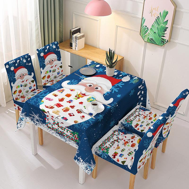 Mantel impermeable y cubierta elástica para silla de Papá Noel, mantel Rectangular...