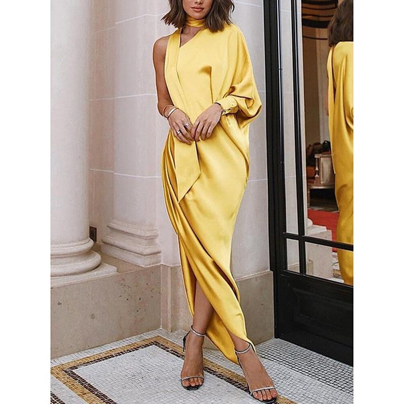 New Women's Long Maxi Dress Split Evening Party Solid Dress Summer Elegant Ladies Casual Formal Dress Gown