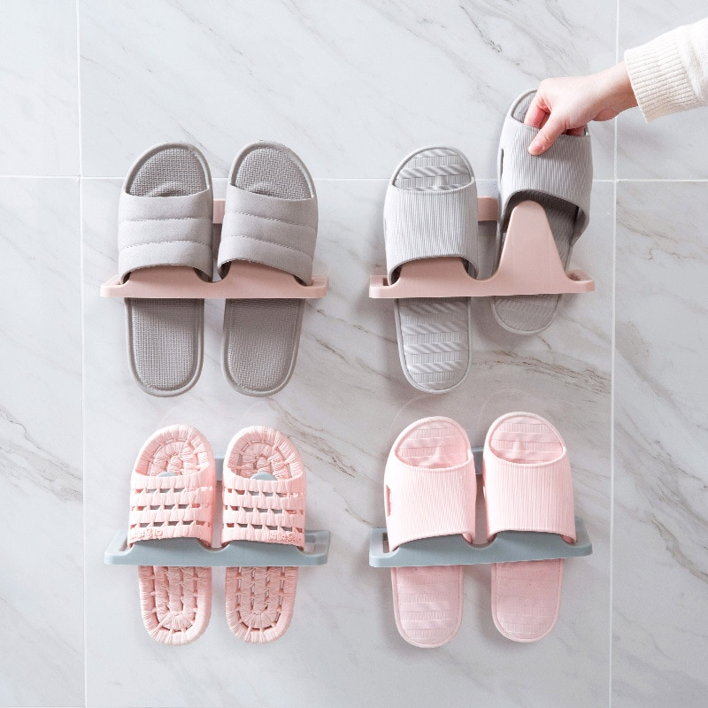 Estante adhesivo para Zapatos, zapatillas colgantes De pared para baño, Organizador De...