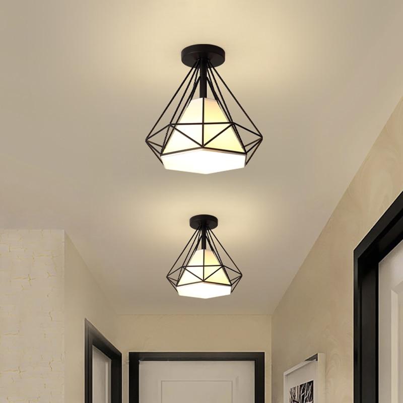 Скандинавский потолочный ретро-светильник для коридора, крыльца, E27, винтажный металлический корпус, светодиодные потолочные светильники д...