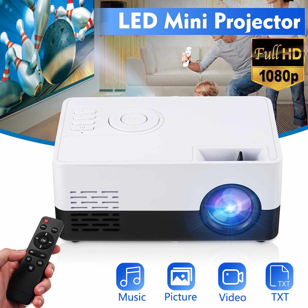 Mini proyector de teléfono HD con bluetooth, WIFI, proyector LED portátil, cine en casa, cine al aire libre, película para fiesta, Camping